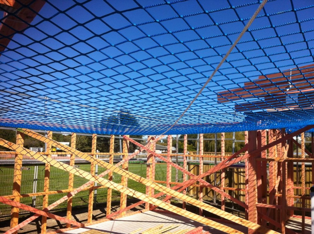 safety nets installed on site to protect worker from falls and mishaps
