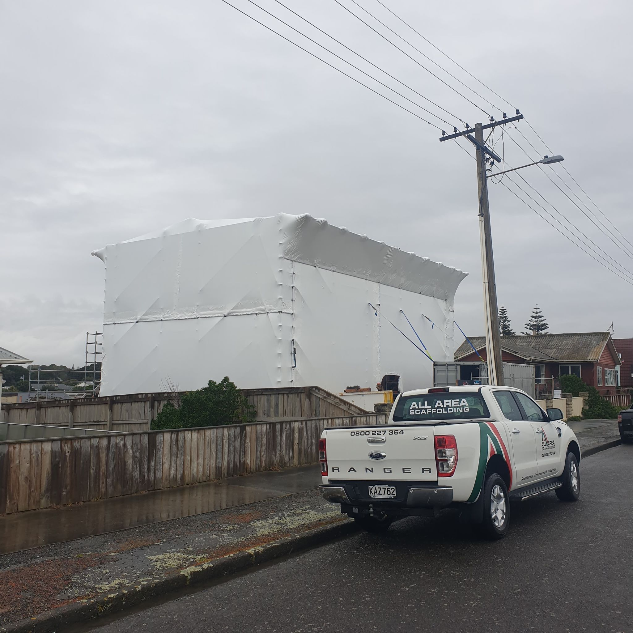 shrink wrap installed a construction site to protect it