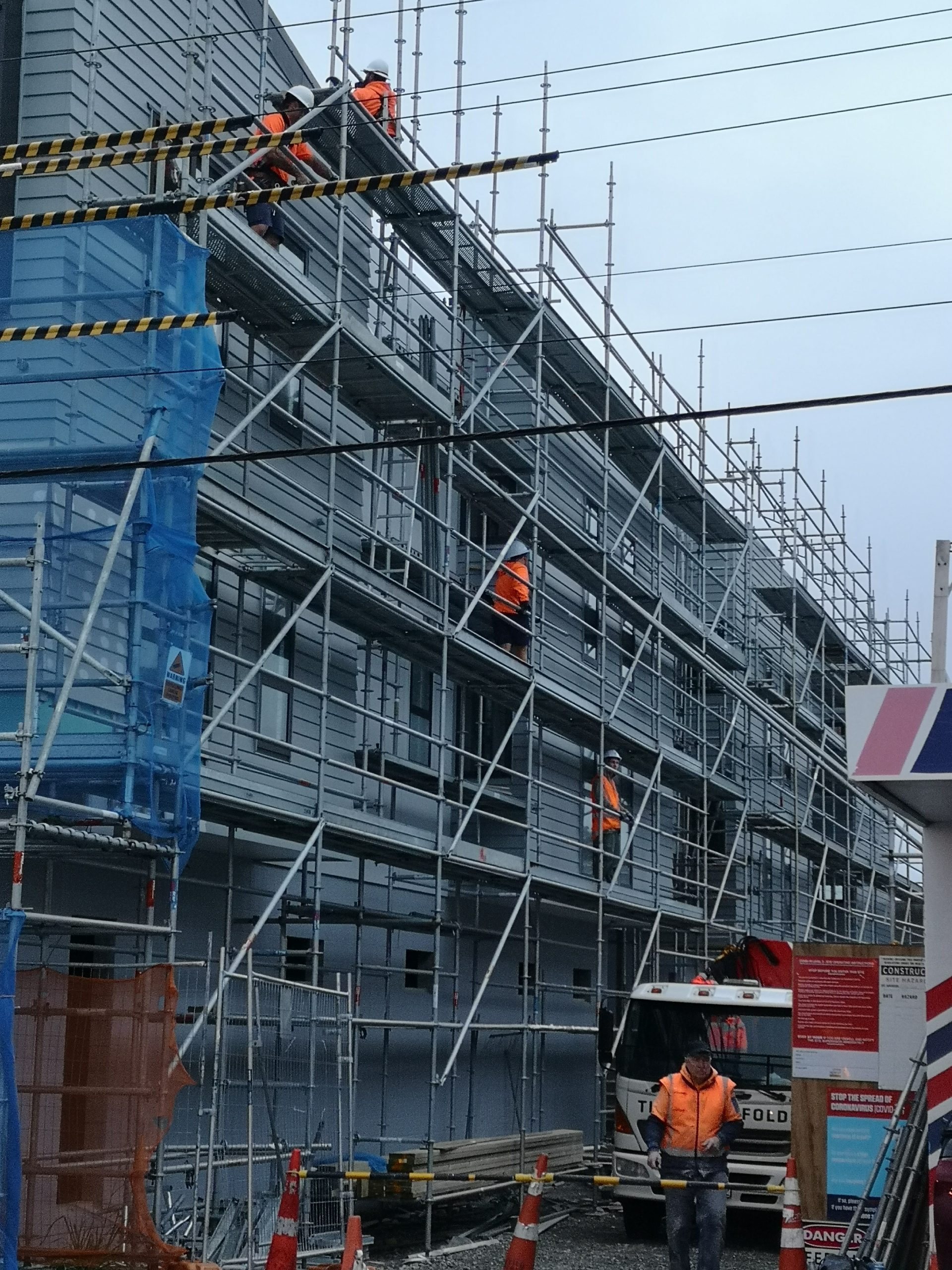 scaffolding installed on a commercial building