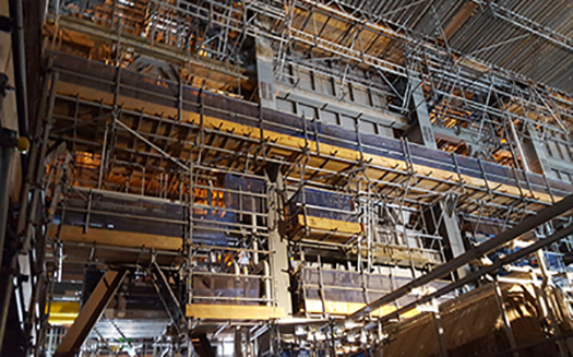 Scaffolding installed in an industrial environment